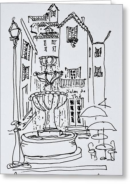 Fountain Plaza, Grasse, France Greeting Card