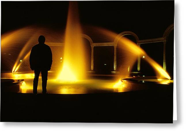 Greeting Card featuring the photograph Fountain Silhouette by Jason Politte