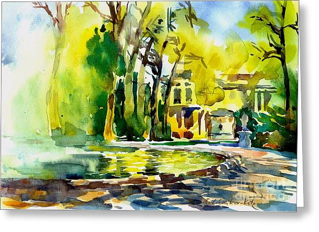 Fountain Spray - Brussels In Spring Greeting Card