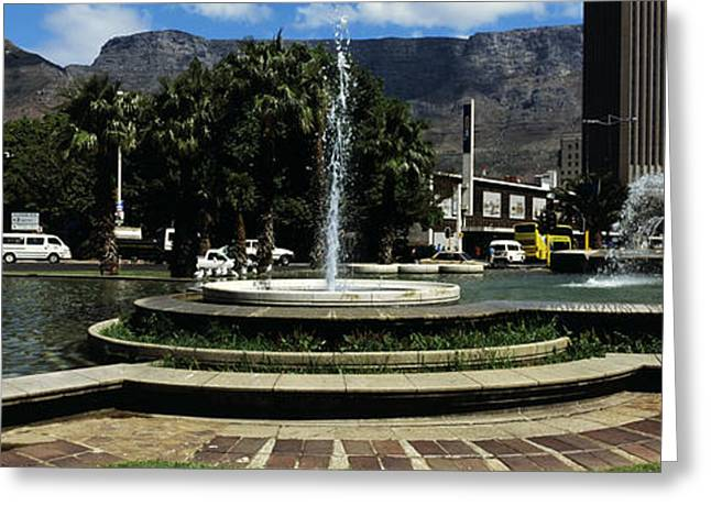 Fountain With Table Mountain Greeting Card by Panoramic Images