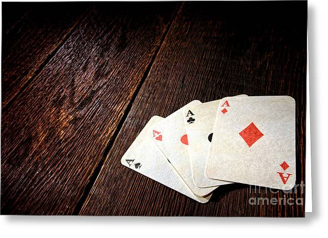 Four Aces Greeting Card by Olivier Le Queinec