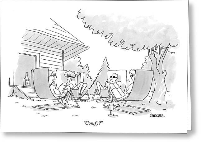 Four Adults Sit Outside On Uncomfortable Looking Greeting Card by Jack Ziegler