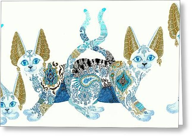 Four Asian Porcelain Cats Greeting Card by Jennifer  Anne Esposito