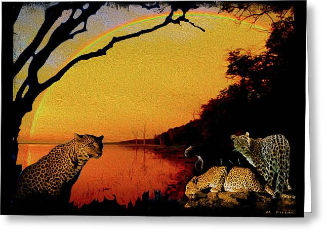 Four At Waterhole Greeting Card