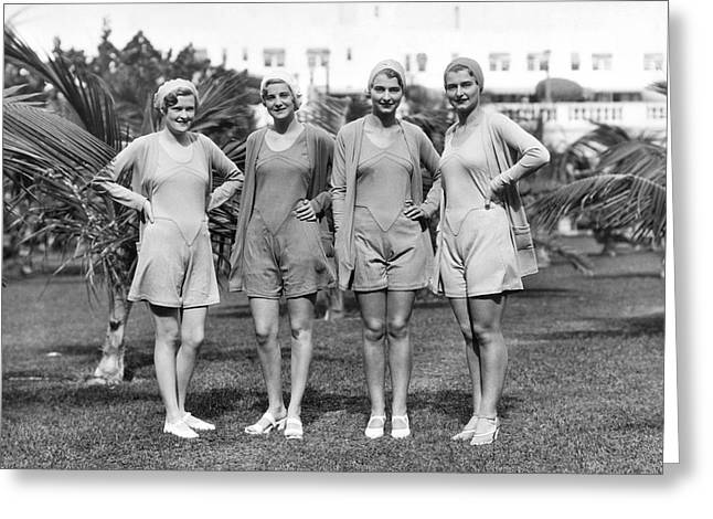 Four Bathing Suit Models Greeting Card by Underwood Archives