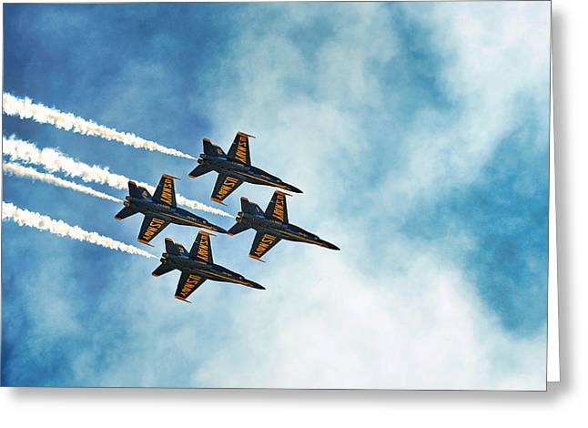 Four Blue Angels  Greeting Card