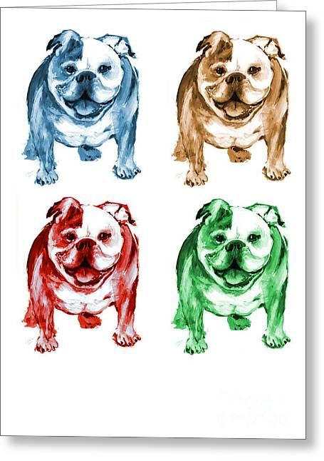 Four Bulldogs Greeting Card by Barbara Marcus