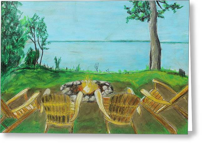 Greeting Card featuring the painting Four Chairs by Jeanne Fischer