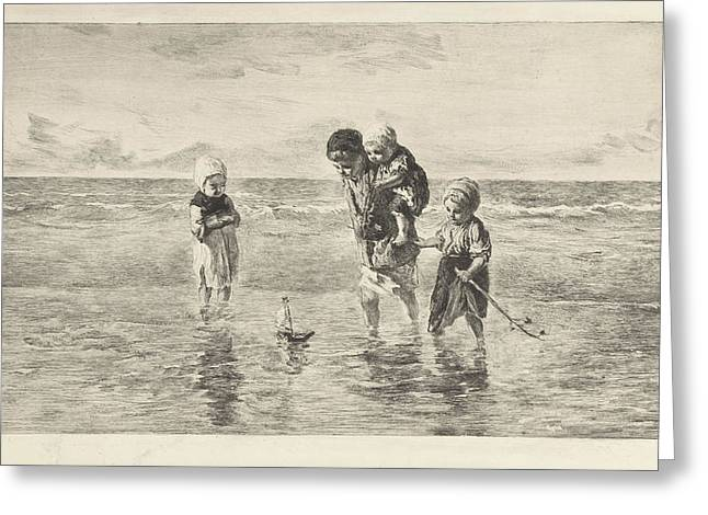 Four Children Playing With Toy Boat On The Beach In Shallow Greeting Card