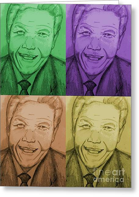 Four Colours Of Mandela Greeting Card by Collin A Clarke