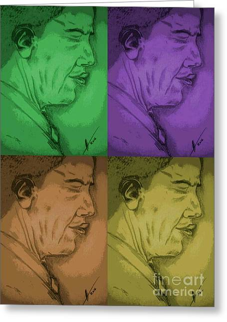 Four Colours Of Obama Greeting Card by Collin A Clarke