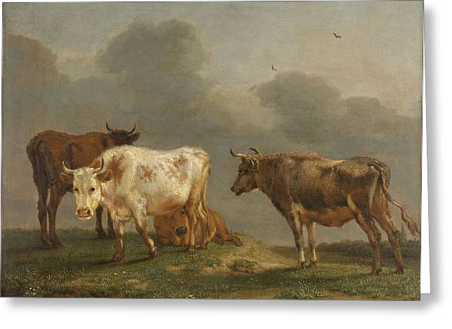 Four Cows In A Meadow Greeting Card