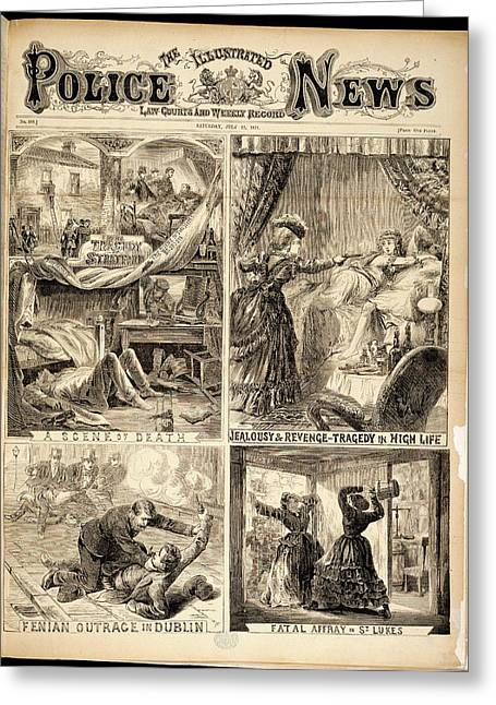 Four Crime Scenes Greeting Card by British Library