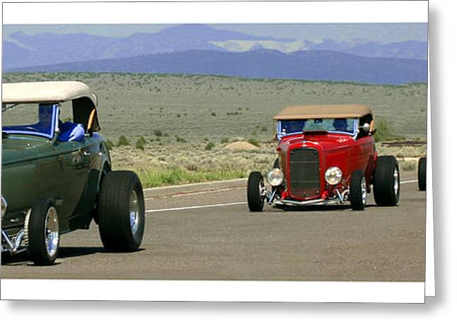 Four Cruzing  Duce Rods Greeting Card by Jack Pumphrey