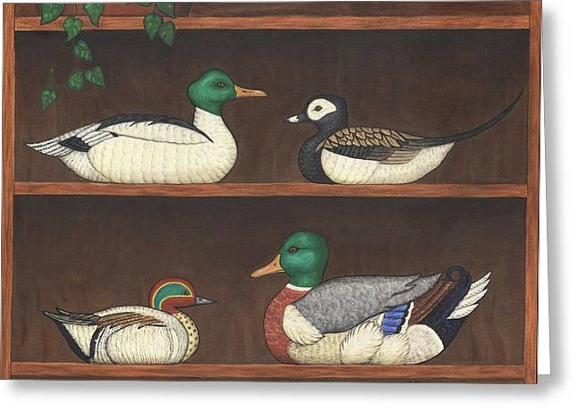 Four Duck Decoys Greeting Card by Linda Mears