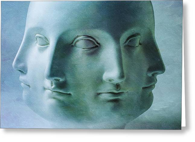 Four Faces Greeting Card by Garry Gay