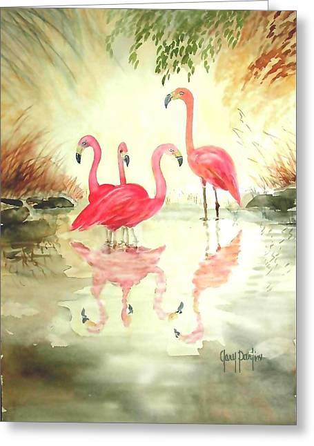 Four Flamingos Greeting Card
