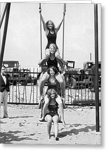 Four Girls On A Swing Set Greeting Card by Underwood Archives
