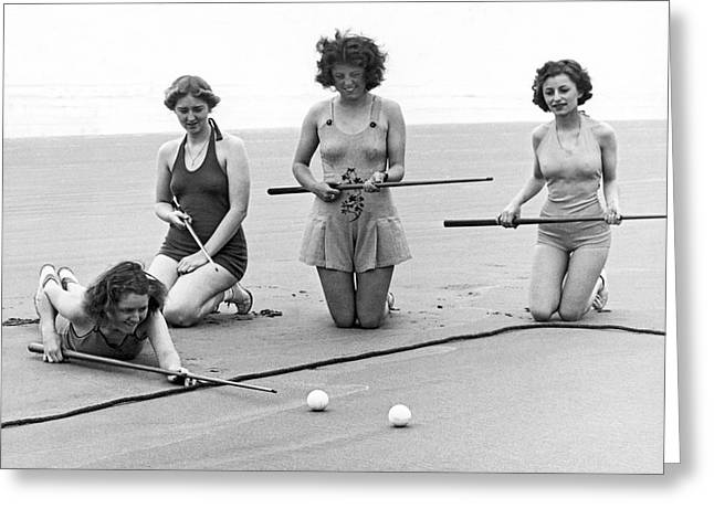 Four Girls Playing Sand Pool Greeting Card