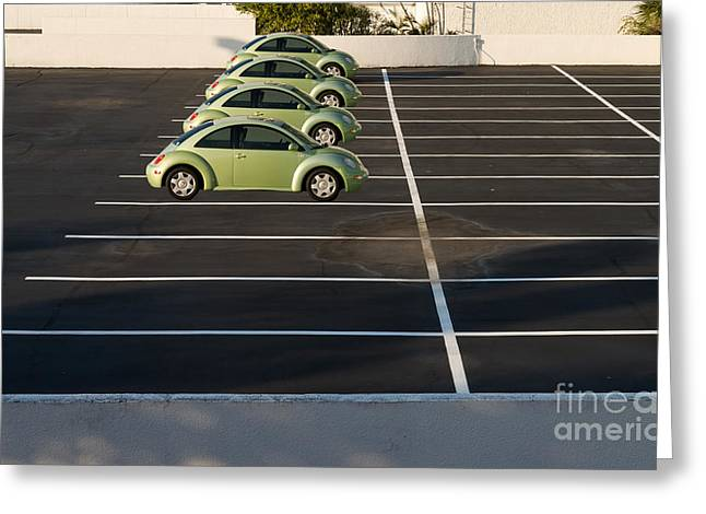 Four Green Beetles Greeting Card