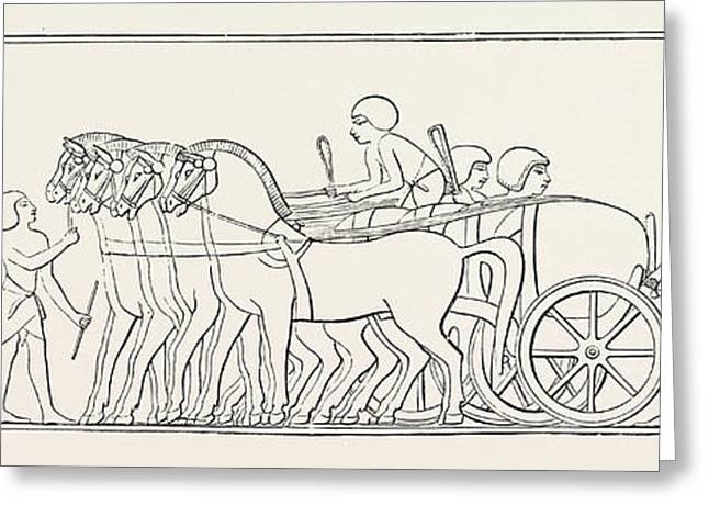 Four-horse Chariot Of A Private Person From Abd-el-kurnah Greeting Card