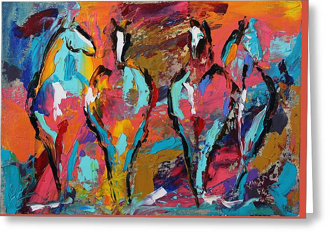 Four In A Row Horse 27 2014 Greeting Card