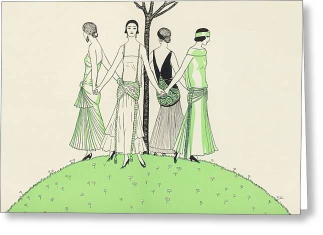 Four Ladies Holding Hands, Wearing Greeting Card