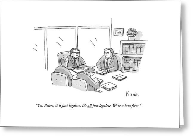 Four Lawyers Speak At A Conference Table Greeting Card by Zachary Kanin