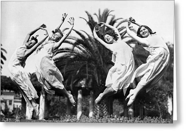 Four Leaping Grecian Dancers Greeting Card