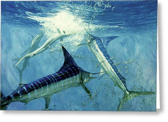 Four Leaping Striped Marlin And Pacific Greeting Card by Stanley Meltzoff / Silverfish Press