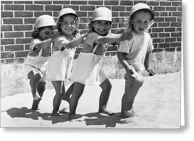 Four Little Girls Having Fun Greeting Card by Underwood Archives