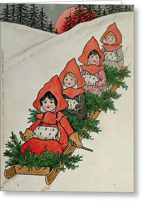 Four Little Girls On A Sledge  Greeting Card