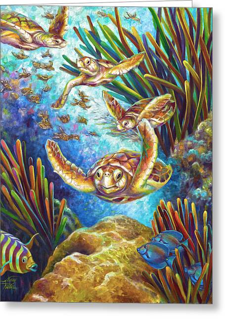 Four Loggerhead Turtles Greeting Card by Nancy Tilles