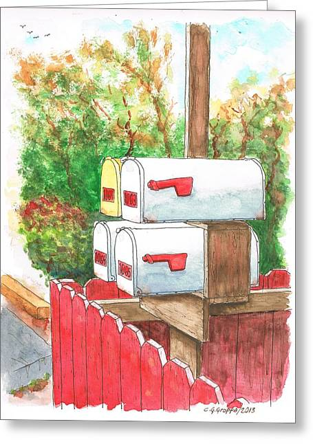 Four Mail Boxes Near A Picket Fence In Laguna Beach, California Greeting Card