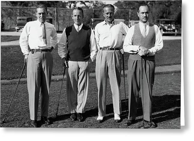Four Men On A Golf Course Greeting Card by Artist Unknown