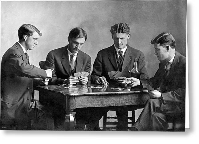 Four Men Playing Cards Greeting Card by Underwood Archives