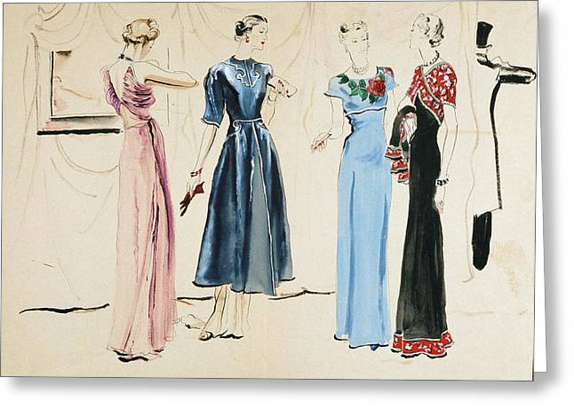 Four Models In Dresses By Alix Greeting Card by Rene Bouet-Willaumez