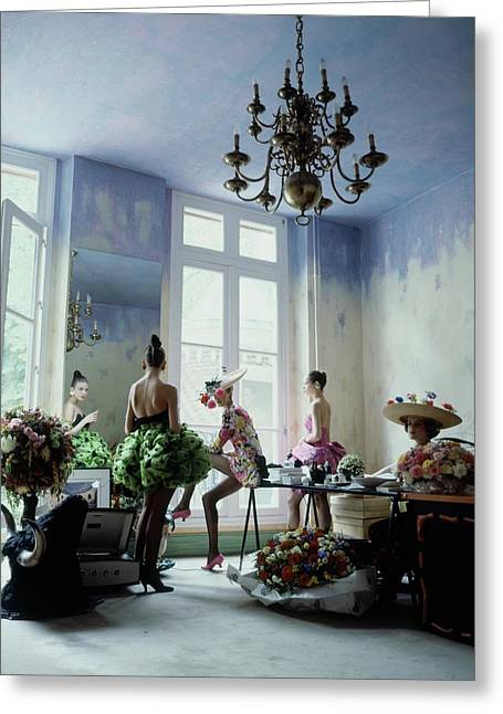 Four Models Inside Christian Lacroix's Studio Greeting Card by Arthur Elgort