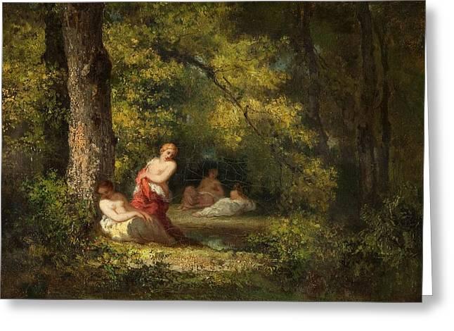 Four Nymphs In A Wood Greeting Card by Narcisse Virgile Diaz de la Pena