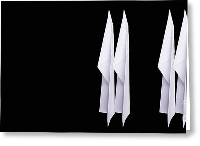Four Paper Airplanes Greeting Card by Edward Fielding