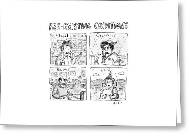 Four People Under The Headings Pre-existing Greeting Card by Roz Chast