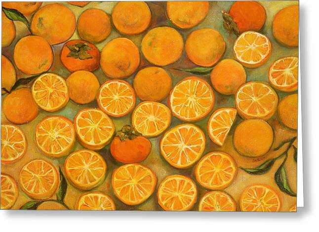 Food Art Paintings Greeting Cards - Four Persimmons Greeting Card by Jen Norton