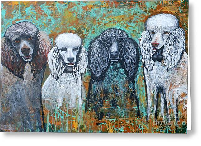 Four Poodles Greeting Card by Genevieve Esson