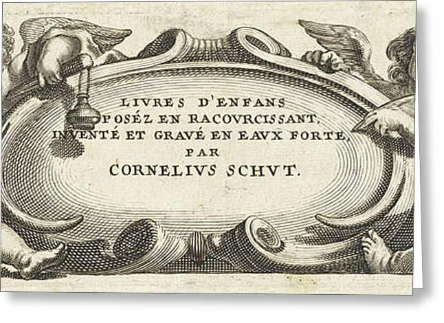 Four Putti Around A Cartouche, Print Maker Anonymous Greeting Card by Cornelis Schut I