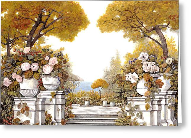 four seasons-autumn on lake Maggiore Greeting Card by Guido Borelli