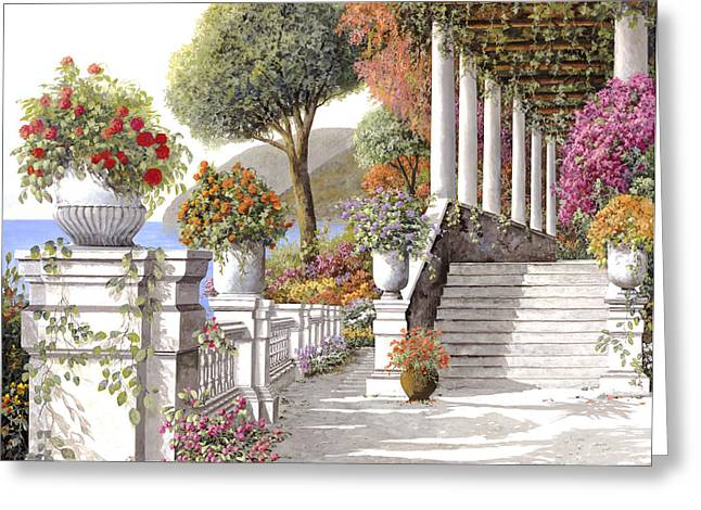 four seasons-summer on lake Como Greeting Card by Guido Borelli
