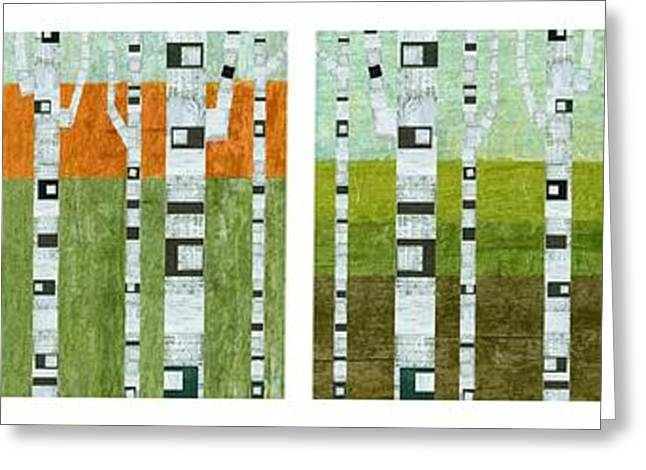 Four Seasons - White Border Greeting Card by Michelle Calkins