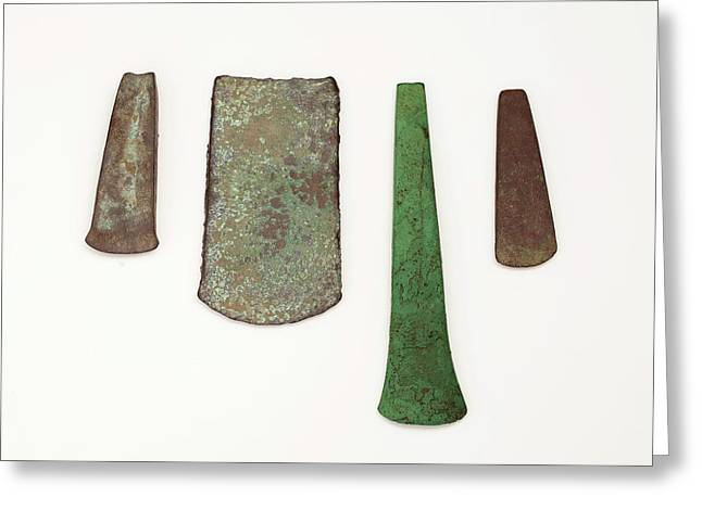 Four Simple Copper Age Flat Axe Celts Greeting Card by Paul D Stewart
