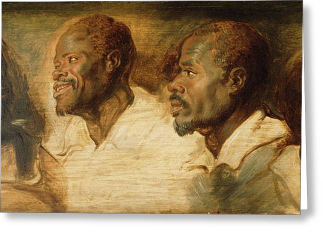 Four Studies Of A Male Head Workshop Of Peter Paul Rubens Greeting Card by Litz Collection