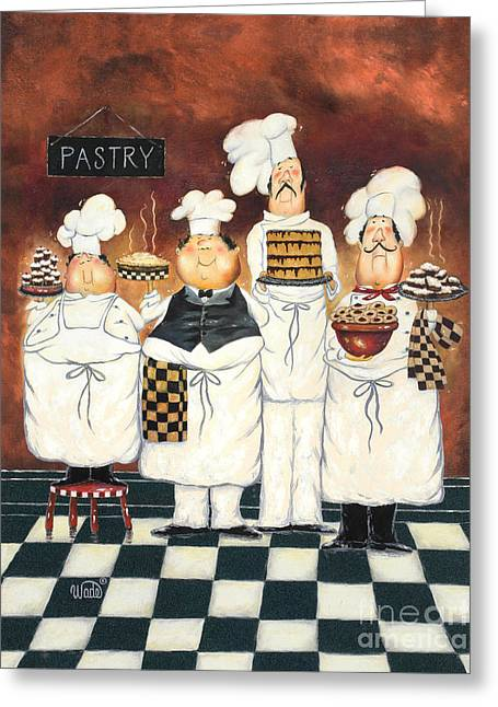 Four Tall Pastry Chefs Greeting Card by Vickie Wade